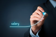 Salary increase. Increase salary concept. Chief Financial Officer (human resources officer) plan salary growth represented by graph royalty free stock image