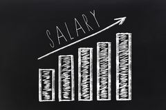 Salary increment growth graph drawn on chalkboard.  Stock Photo
