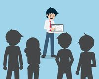 Salary Man 01 Presentation by Computer In front of Colleagues. Business Profits. Graph royalty free illustration
