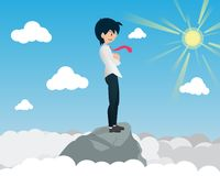 Salary Man Standing on High Place and See Forward vector illustration
