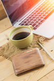 salary man wake up morning with coffee, work at home concept. Royalty Free Stock Photos