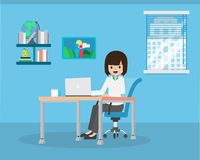 Salary Man 01 Working in office Room 03 vector illustration