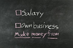 Salary or own business Stock Photos