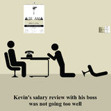 Salary review. Kevins salary review was not going too well Stock Illustration