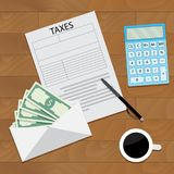 Salary tax top view concept Royalty Free Stock Photography