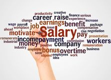 Salary word cloud and hand with marker concept. On white background stock image