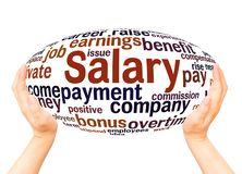 Salary word cloud hand sphere concept. On white background royalty free stock photo