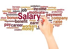 Salary word cloud hand writing concept. On white background royalty free stock photo