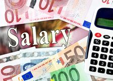 Salary word with money royalty free stock image
