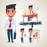 Salaryman. businessman character design with typographic. office Royalty Free Stock Photo