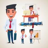 Salaryman het ontwerp van het zakenmankarakter met typografisch bureau Royalty-vrije Stock Foto