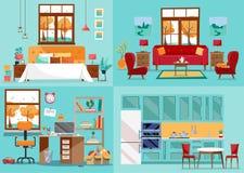 Salas do interior 4 da casa Dentro das vistas dianteiras da cozinha, sala de visitas, quarto, berçário Salas de casa interiores d ilustração stock