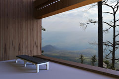 Salas modernas simples e a vista fora da janela que negligencia as madeiras e o céu um a manhã bonita Fotografia de Stock Royalty Free