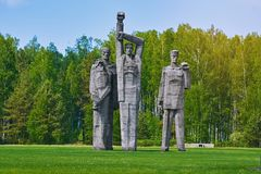 Salaspils Concentration Camp. SALASPILS, LATVIA - May 16, 2018: Monument `Rotfront` on the Place of Former Salaspils Concentration Camp. Autor Oleg Skarainis royalty free stock images