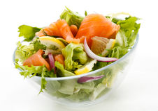 Salat der geräucherten Lachse Stockfotografie