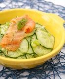 Salat der Gurke mit Lachsfischen lizenzfreie stockbilder