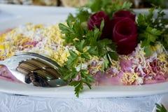Salat der roten Rübe mit geriebenem Käse und Sauerrahm Stockfotografie