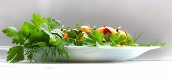 Salat der Tomate, der Petersilie und des Selleries auf der Platte Stockbild