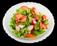 Salat des Rettichs und des Kopfsalates Stockfoto