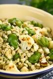Salat des strengen Vegetariers der Gerste, der Puffbohnen und des gebratenen Blumenkohls Stockfotografie