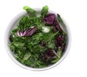 Salat in einer runden weißen Schüssel stockfotografie