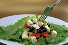 Salat with feta cheese and fresh vegetables Royalty Free Stock Photography