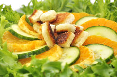 Salat with mandarin  cucumber and toast. Salad with mandarin  cucumber and toast Focus on toast Stock Images