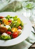 Salat mit Arugula, Tomaten und mozarella auf hölzernem Hintergrund Stockbild