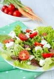 Salat mit der hühnerleber Kirschtomaten und -Feta Lizenzfreie Stockbilder
