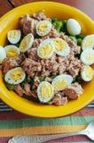 Salat mit Eiern der grünen Bohnen, des Thunfischs und der Wachteln Stockbilder
