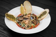 Salat mit essbaren Meerestieren Miesmuscheln und Garnelen auf einer weißen Platte Lizenzfreie Stockfotografie