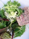 Salat mit Fleischpastete Stockfotos