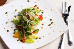 Salat mit Frischgemüse, Kürbiskerne, Orangen auf weißer Platte Lizenzfreies Stockfoto