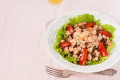Salat mit Garnele, Tomaten und Linsen Lizenzfreie Stockbilder