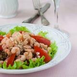 Salat mit Garnele, Tomaten und Linsen Stockfoto