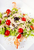 Salat mit Garnele und Tomaten Lizenzfreies Stockfoto