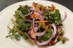 Salat mit Gemüse und Fleisch am 29. September 2016 Lizenzfreie Stockfotos