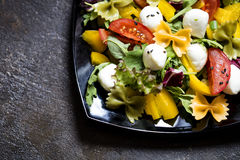 Salat mit Gemüse und Teigwaren auf einem Schwarzblech Lizenzfreie Stockfotografie