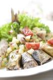 Salat mit geräucherten Heringen Stockbilder