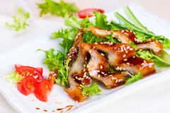 Salat mit geräucherter Aal unagi Soße Lizenzfreie Stockbilder