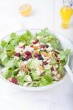 Salat mit Gorgonzola-Käse und trockenen Beeren in der weißen Schüssel Lizenzfreie Stockfotos