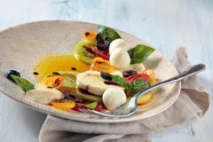 Salat mit italienischem Mozzarella lizenzfreie stockbilder