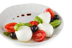 Salat mit italienischem Mozzarella Caprese lizenzfreie stockfotos