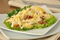 Salat mit Käse und Apfel, Walnüsse und Joghurt Stockfotos
