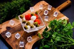 Salat mit Mozzarella stockbild