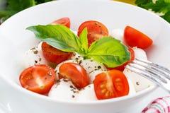 Salat mit Mozzarella-, Basilikum- und Kirschtomaten, Nahaufnahme Stockbild