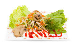 Salat mit sortierten Grüns, gebratenes Schweinefleisch, Karotten Lizenzfreie Stockbilder