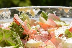 Salat mit Tomaten-Gurken-Salatrettich mit Majonäse und schwarzem Pfeffer stockfoto