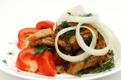 Salat mit Treffen und Tomaten Lizenzfreies Stockfoto