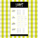 Salat-Restaurantmenü-Designschablone mit Logo Stockbilder